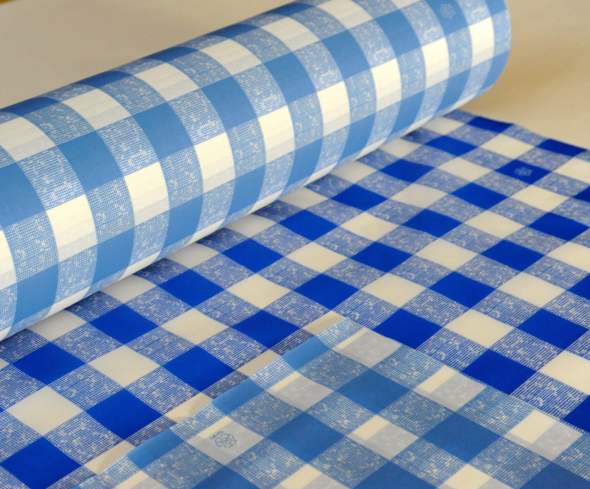 Tischdecke blau/weiß kariert